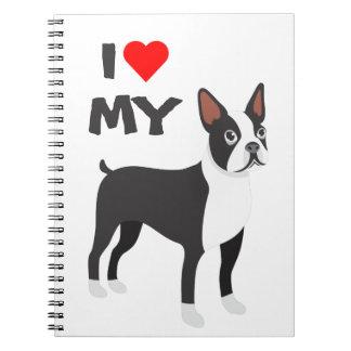 Amo mi cuaderno de Boston Terrier