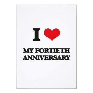 Amo mi cuadragésimo aniversario invitaciones personalizada