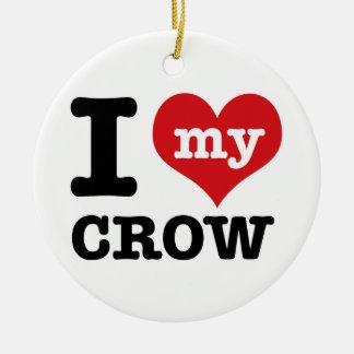 Amo mi cuervo adorno navideño redondo de cerámica