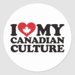 Amo mi cultura canadiense etiqueta redonda