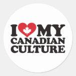 Amo mi cultura canadiense pegatina redonda
