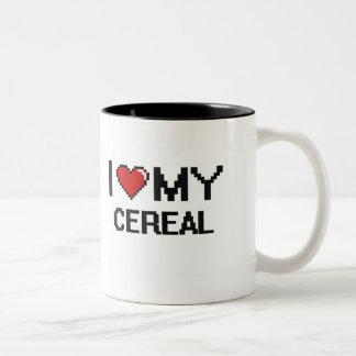 Amo mi diseño de Digitaces del cereal Taza Dos Tonos