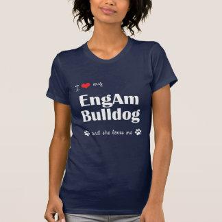 Amo mi dogo de EngAm el perro femenino Camisetas