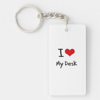 Amo mi escritorio llavero rectangular acrílico a doble cara