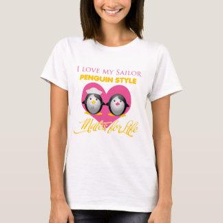 Amo mi estilo del pingüino del marinero camiseta