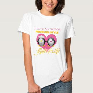 Amo mi estilo del pingüino del marinero camisetas