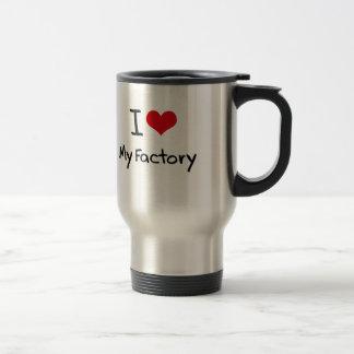Amo mi fábrica taza de viaje