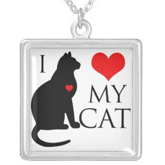 Amo mi gato colgante cuadrado
