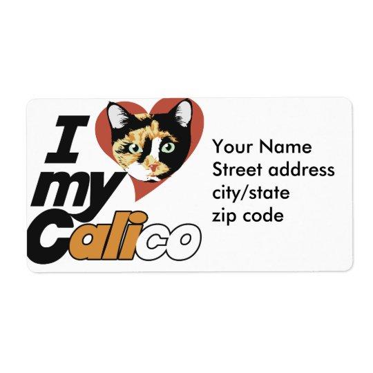 Amo mi gato de CALICÓ Etiqueta De Envío