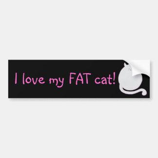 ¡Amo mi gato gordo! Pegatina Para Coche