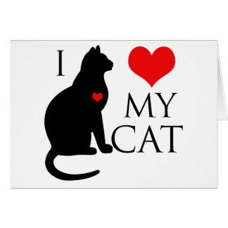 Amo mi gato tarjeta de felicitación
