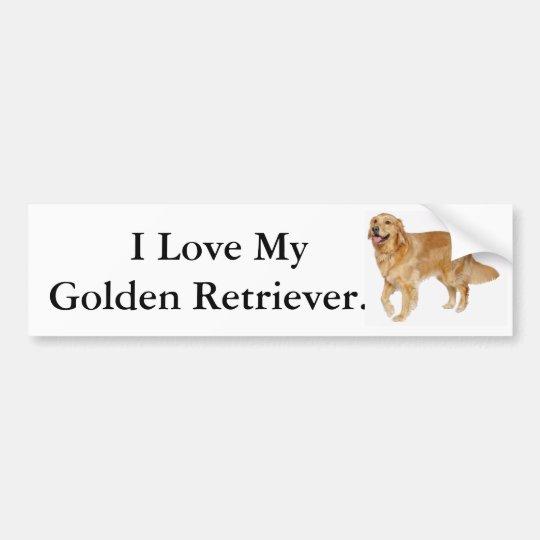 Amo mi golden retriever pegatina para coche