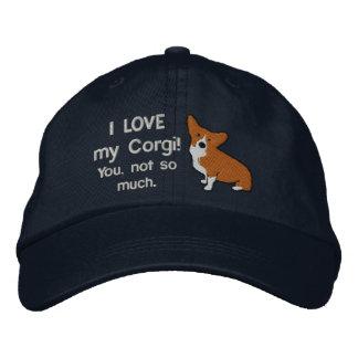 Amo mi gorra bordado oscuridad del Corgi