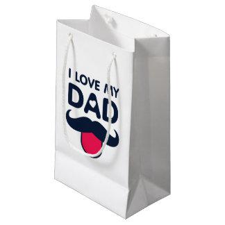 Amo mi icono lindo del bigote del papá bolsa de regalo pequeña