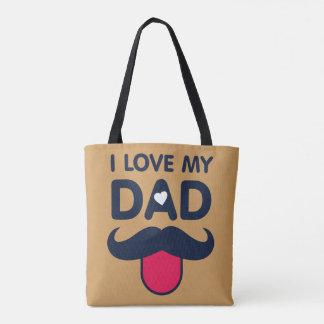 Amo mi icono lindo del bigote del papá bolsa de tela