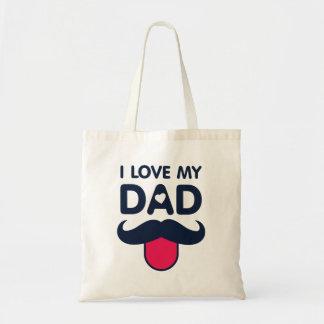 Amo mi icono lindo del bigote del papá bolso de tela