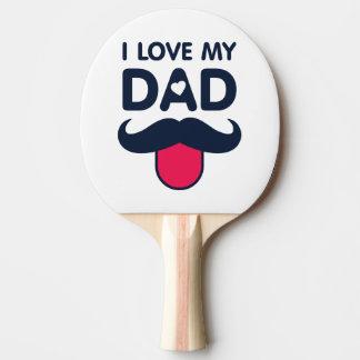 Amo mi icono lindo del bigote del papá pala de ping pong