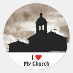 Amo mi iglesia pegatina redonda