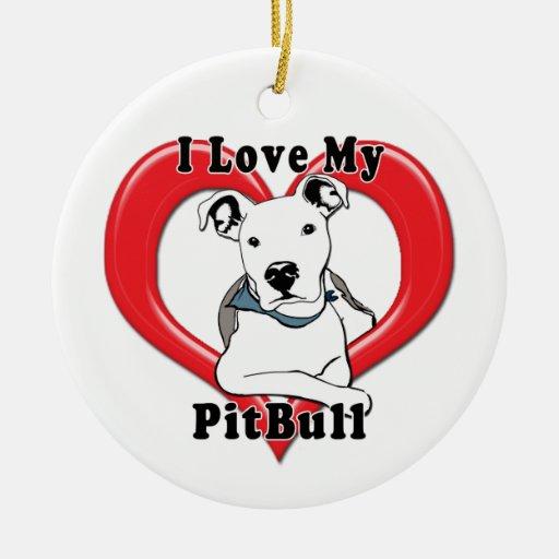 Amo mi logotipo de PitBull Ornamento De Navidad