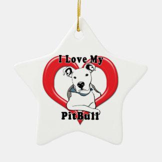 Amo mi logotipo de PitBull Adorno De Cerámica En Forma De Estrella