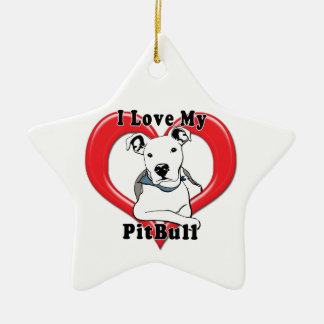 Amo mi logotipo de PitBull Adorno Navideño De Cerámica En Forma De Estrella