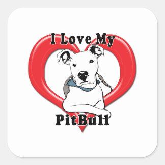 Amo mi logotipo de PitBull Calcomanías Cuadradass