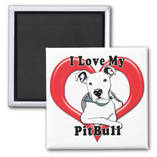 Amo mi logotipo de PitBull Imán Cuadrado