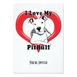 Amo mi logotipo de PitBull Invitación 12,7 X 17,8 Cm