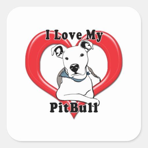 Amo mi logotipo de PitBull Calcomanías Cuadradas Personalizadas