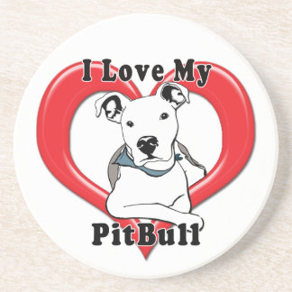 Amo mi logotipo de PitBull Posavasos Para Bebidas