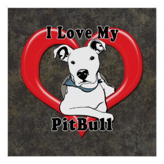 Amo mi logotipo de PitBull Póster