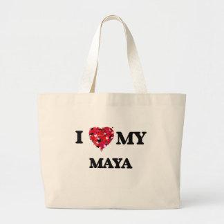 Amo mi maya bolsa tela grande