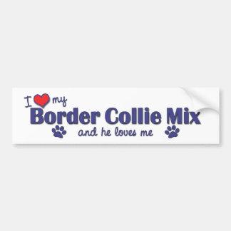 Amo mi mezcla del border collie (el perro masculin pegatina de parachoque
