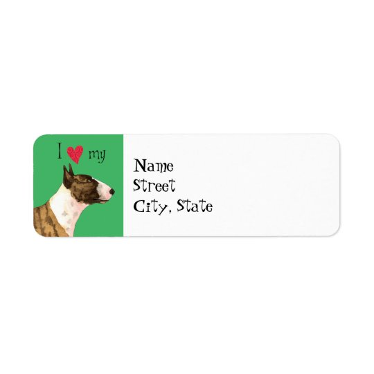 Amo mi mini bull terrier etiqueta de remitente