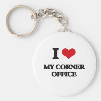 Amo mi oficina de la esquina llavero redondo tipo chapa