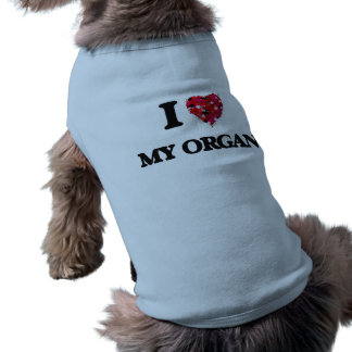 Amo mi órgano camiseta sin mangas para perro