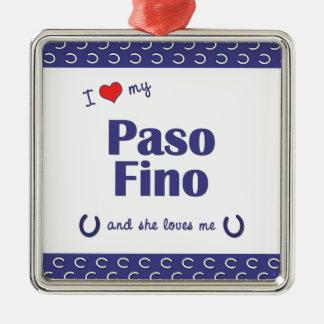 Amo mi Paso Fino (el caballo femenino) Adorno Cuadrado Plateado