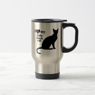 Amo mi pequeño gato negro taza de viaje