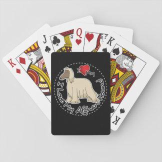 Amo mi perro de afgano baraja de cartas