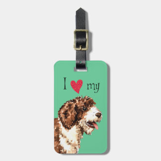 Amo mi perro de agua español etiqueta para equipaje