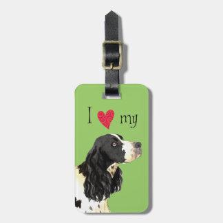 Amo mi perro de aguas de saltador inglés etiqueta para maletas