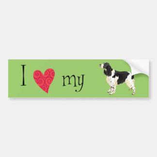 Amo mi perro de aguas de saltador inglés pegatina de parachoque