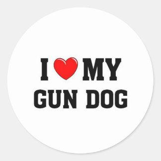 Amo mi perro de arma pegatina redonda