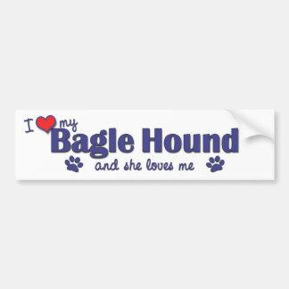 Amo mi perro de Bagle (el perro femenino) Pegatina De Parachoque