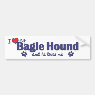 Amo mi perro de Bagle (el perro masculino) Pegatina Para Coche