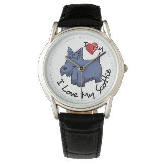Amo mi perro del escocés reloj de pulsera