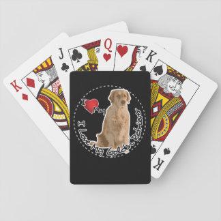 Amo mi perro del golden retriever baraja de cartas