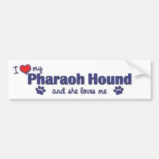 Amo mi perro del Pharaoh (el perro femenino) Pegatina De Parachoque
