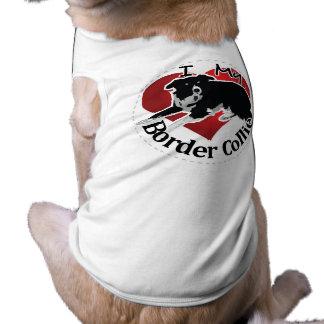Amo mi perro divertido y lindo adorable del border camiseta sin mangas para perro