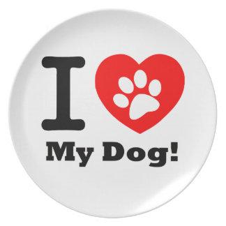 Amo mi perro plato